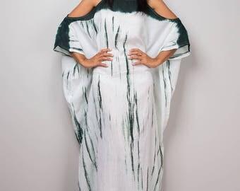 Kaftan, Kaftan dress, Halter Dress, Tie Dye Dress, Teal Green and White Summer Dress : Shibori Collection