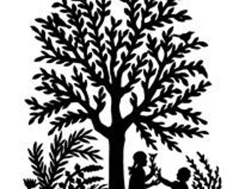 Tree Silhoutte Paper Cutting Style Scherenschnitte - Digital Image - Vintage Art Illustration