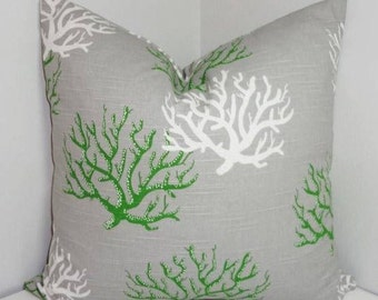 Nautical Beach Decor Green Grey White Coral Isadella Home Decor by HomeLiving Size 20x20