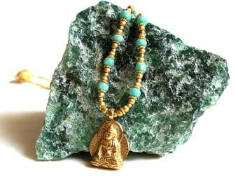 AMAZONITE golden ball BUDDHA necklace
