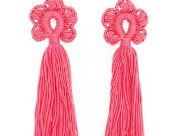 Tassel earrings Cotton crochet jewelry Long dangling earrings Hippie Gypsy Boho chic Bohemian wedding bridesmaid gifts Festival Coral pink