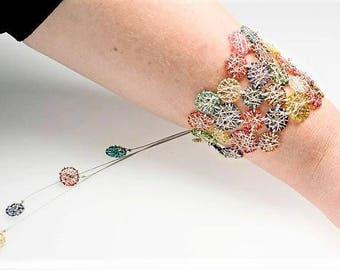 Disc bracelet Colorful Geometric jewelry Wide bracelet Silver bracelet Unique Anniversary gift women Modern Hippie Summer Wire Art jewelry