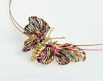 Butterfly necklace, delicate gold necklace, wire wrapped pendant, nature, hippie, insect jewelry, Christmas bridesmaid romantic gift for her