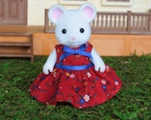 Calico Critters Dress, Calico Critters Accessories, Calico Critters Clothing, Calico Critters Clothes, Red Floral Print Dress, Spring Dress
