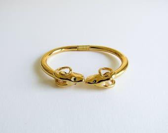 KJL Ram Vintage Kenneth J Lane Aries Clamper Gold Bracelet