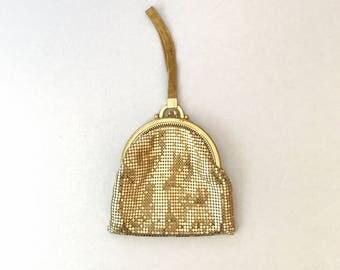 Vintage Whiting Davis Gold Mesh Kisslock / Kiss Lock Purse / Bag / Handbag Small Wrist Strap