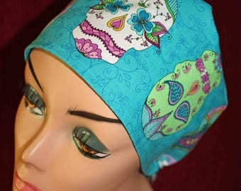 Turquoise Sugar Skulls Surgical Cap (biker/chemo/surgical)