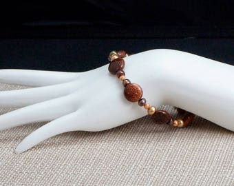 Goldstone, Freshwater Pearl, and Copper Bracelet