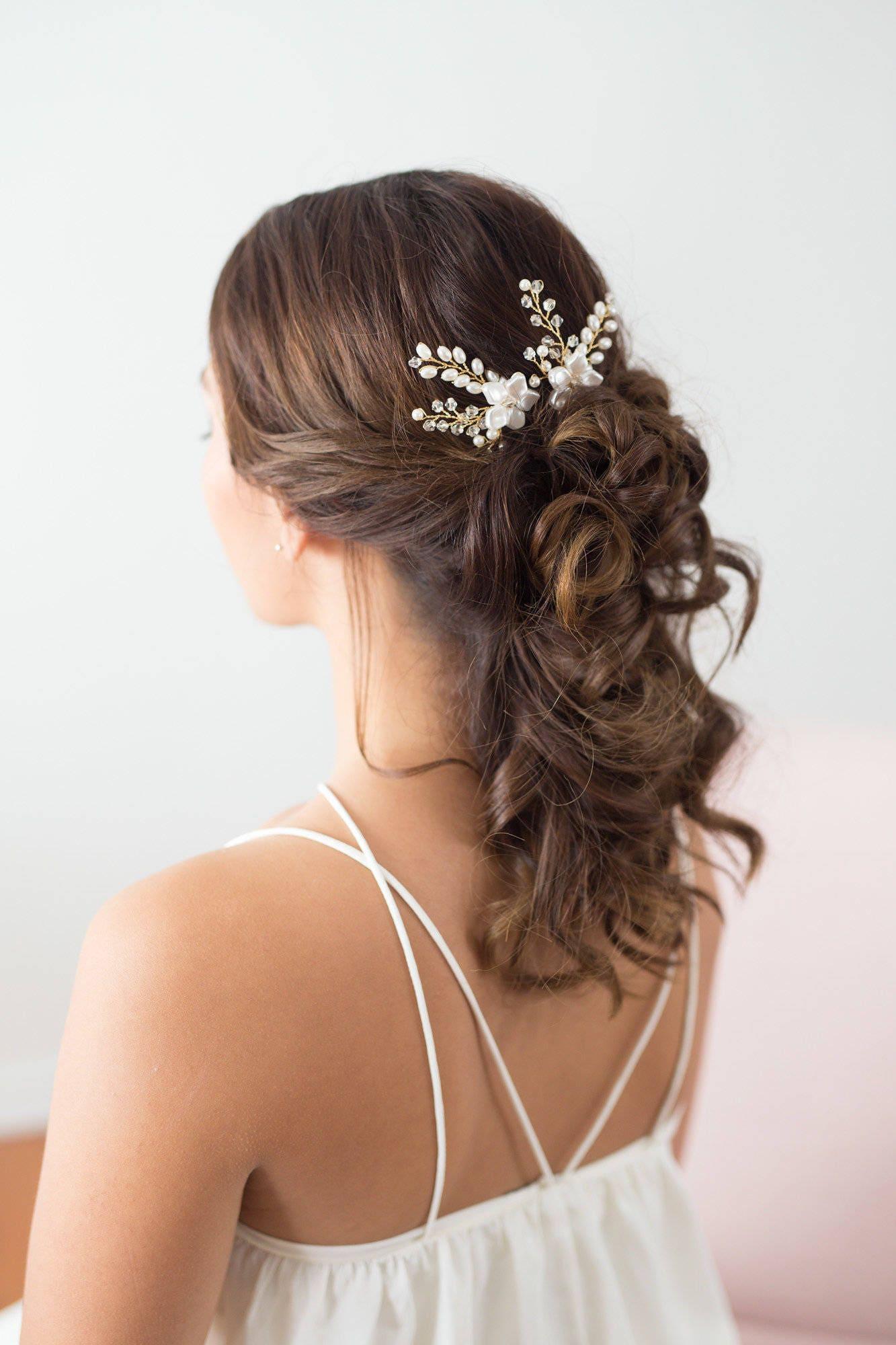 Wedding Hair Accessories Bridal Headpiece Gold Flower Pins Pearl Vine