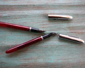 Red Translucent Vintage Sheaffer's Fountain Pens, Sheaffer 305 Nib Fountain Pen, Sheaffer Transparent Red Pens, Vintage Office Accessory