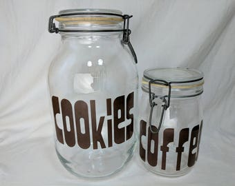 2 Triomphe Typography Vintage Canning Storage Jar Cookies 3 & Coffee 1 Liter Made in France Clamp Lid Canisters *eb