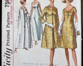 Simplicity 6219 1960s 60s Sweetheart Evening or Cocktail Dress with Coat Vintage Sewing Pattern Size 10 Bust 31