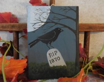 Primitive Folk Art Halloween Crow Moon Cemetery Hand Painted