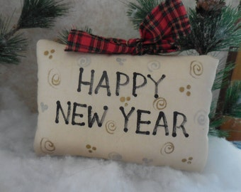 Primitive Happy New Year Pillow Sign Hand Painted Folk Art Confetti