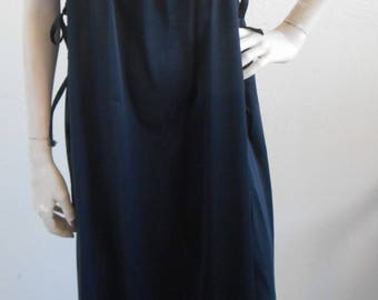 Vintage Nightgown Black Silky Nylon by Sears Size Large