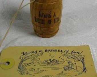 HAVING A BARREL of Fun Vintage Souvenir Miniature Wood Barrel with Unused Mailing Card Vacation Lake Cabin Dallas PA