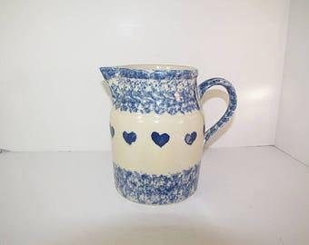 Vintage FRIENDSHIP POTTERY PiTCHER Blue Sponge ROSEVILLE Ohio Art Water Size Heart Spongeware Clay