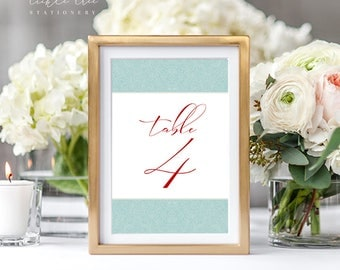 Reception Table Numbers + Two Bonus Signs - Turquoise Paisley (Style 13763)