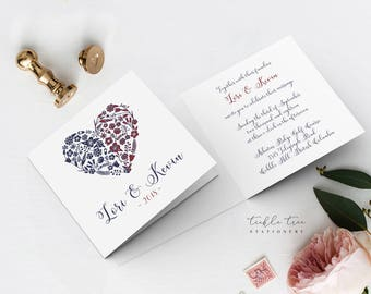 Wedding Invitations, Semi Custom - Our Joining Hearts (Style 13771)