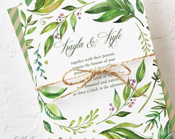 Wedding Invitation Suite, Semi Custom - Breezy Leaf (Style 13701)