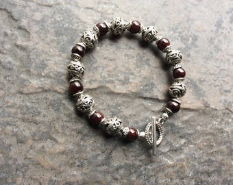 Red Garnet bracelet with filigree bead strands and toggle clasp Valentine's Day gift Silver Filigree ball bracelet Garnet Gemstone Bracelet