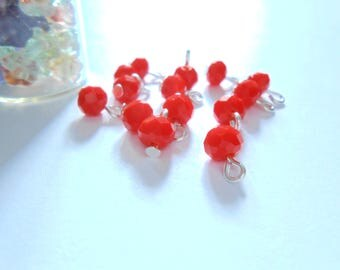 Red Orange Faceted Rondelle Dangle Beads