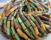 "Rustic Tribal Tube Beads, Full 21"" Strand 60 Beads, 9x4mm Aged Wampum Tube Beads, Boho Beads,  Czech Glass Picasso Beads, #RT91015"