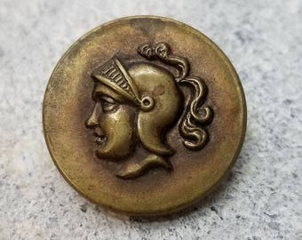 Antique Brass Head Picture Button ~ Soldier or Knight in Plumed Helmet ~ King Arthur ? ~ Mens Head Pictorial ~ 7/8 inch 23mm ~ Coat Button