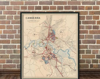 Canberra map - Old map of Canberra  print - Archival reproduction