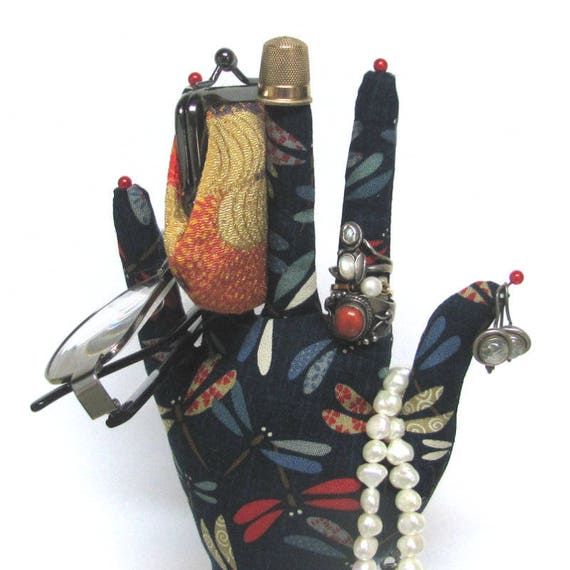 Obi Dragonfly Fabric HAND-Stand ~ Jewelry Holder ~ Ready to Ship