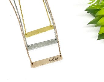 Engraved Bar Necklaces - Rosegold Bar Necklaces - Gold Bar Necklaces - Name Jewelry - TheCharmed Wife - Christmas Gifts for Her - Teen Gifts
