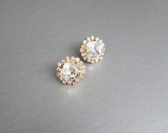 Bridal crystal stud earrings, Swarovski crystal bridal stud earrings, Swarovski earrings, Bridal rhinestone earrings, Post earrings