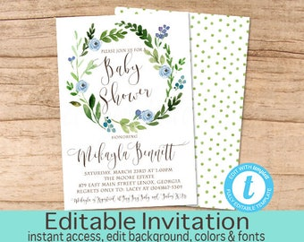 Baby Boy Shower Invitation, Watercolor Greenery Baby Shower invitation, Botanical Watercolor Invitation, EDITABLE Instant Download