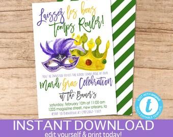 Mardi Gras Invitation, Mardi Gras celebration, Editable Carnival Party template, laissez les bon temps rouler, Fat Tuesday, Instant Download