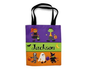 Halloween Personalized Tote Bags, Custom Tote bag, Boys Trick or Treat Bag, Kids Tote Bag, Kids Personalized Gift