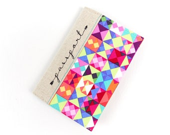 Fabric Cover for Passport Modern Woman Teen Girl Gift Arrow Font Passport Holder Vegan Travel