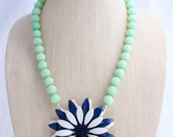 Navy Necklace, Daisy Necklace, Flower Necklace, Retro Necklace, Recycled Jewelry, Recycled Necklace, Upcycled Jewelry, Upcycled Necklace