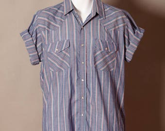 Vintage Men's Short Sleeve Button Down - be pink stripe - Rock Canyon - L