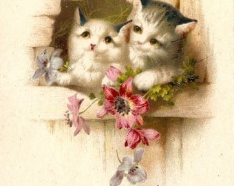 Cute Kittens & Butterfly Antique French Chromolithograph Postcard Post Card from Vintage Paper Attic