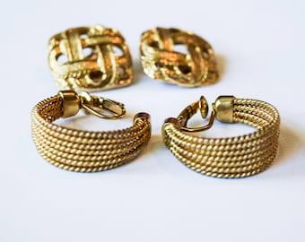 Vintage Signed Avon Hoop Earrings Clip On Gold Tone Lot