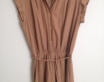 70s Suede-like Tan Women's Jumpsuit