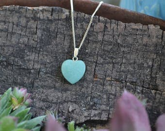 Heart Amazonite Necklace, Small Heart Necklace, Stone Heart Necklace, Blue Stone Necklace, Love Stone, Calming Stone, Small Stone Necklace