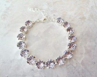 Smoky mauve crystal bracelet, Swarovski crystal bracelet, Crystal wedding bracelet, Crystal tennis bracelet, Brides bracelet, SOPHIA