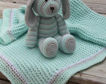 Crochet Baby Blanket, Waffle Weave Blanket, Crochet Puppy, Baby Afghan, Nursery Decor, Stroller Blanket, Baby Gift Set, Puppy, Mrs VsCrochet