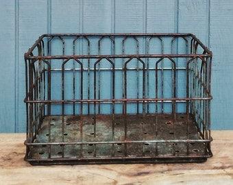 Industrial Metal Crate - Vintage Storage Crate - Dairy Crate