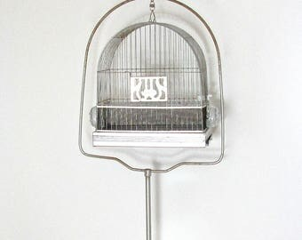 Hendrix Bird Cage with Stand, Hendryx Feeders, Rusty Bird Cage with Stand