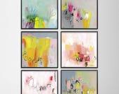 """Abstrakten print Satz von 6 rosa grau Aqua Giclée Drucke 12 x 12-Wand-Dekor bunte glücklich wunderlichen Feminine Art """"Love Letters"""""""
