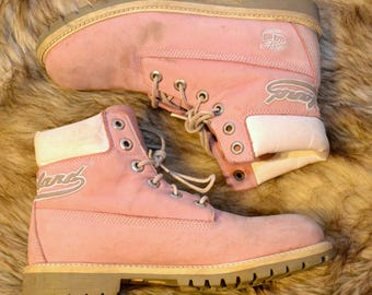 Women's Size 8 Men's Size 6 PASTEL PINK TIMBERLAND Boots Genuine Leather