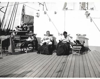 "Vintage Snapshot ""Tourist Class"" Transatlantic Crossing Wooden Deck Chairs Lap Blankets Steamship Lifeboats Found Vernacular Photo"