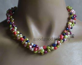 multicolor necklace.6-7mm baroque pearl necklace,wedding necklace,baroque pearl necklace,twisted pearl necklace, statement necklace
